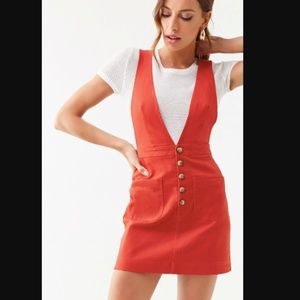 Forever 21 Denim Pinafore Overall Bib Brown Dress